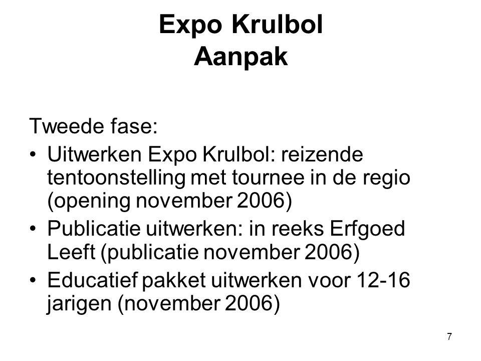 7 Expo Krulbol Aanpak Tweede fase: •Uitwerken Expo Krulbol: reizende tentoonstelling met tournee in de regio (opening november 2006) •Publicatie uitwe