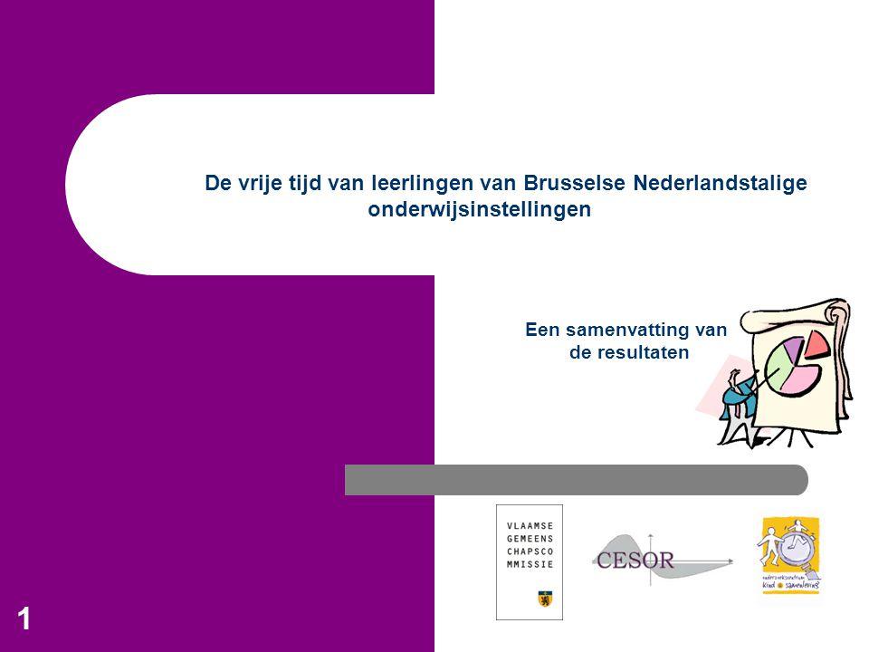1 De vrije tijd van leerlingen van Brusselse Nederlandstalige onderwijsinstellingen Een samenvatting van de resultaten