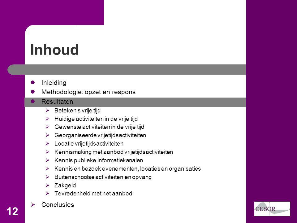 Inhoud  Inleiding  Methodologie: opzet en respons  Resultaten  Betekenis vrije tijd  Huidige activiteiten in de vrije tijd  Gewenste activiteite