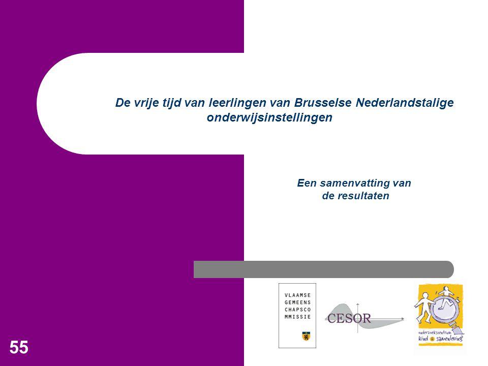 55 De vrije tijd van leerlingen van Brusselse Nederlandstalige onderwijsinstellingen Een samenvatting van de resultaten