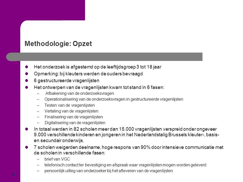 Methodologie: Opzet  Het onderzoek is afgestemd op de leeftijdsgroep 3 tot 18 jaar  Opmerking: bij kleuters werden de ouders bevraagd  6 gestructur