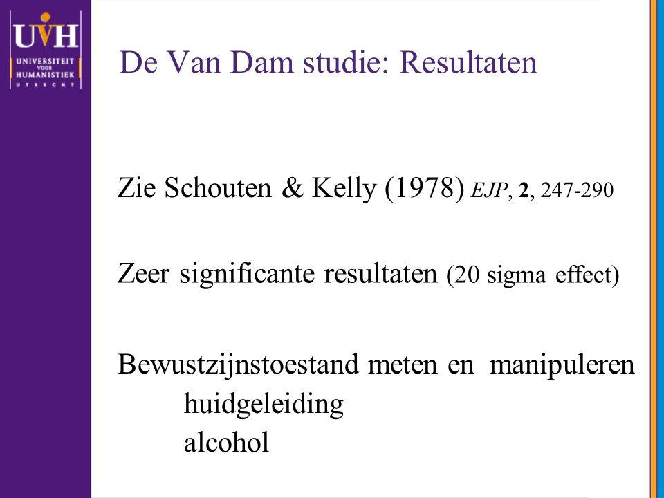 De Van Dam studie: Resultaten Zie Schouten & Kelly (1978) EJP, 2, 247-290 Zeer significante resultaten (20 sigma effect) Bewustzijnstoestand meten en