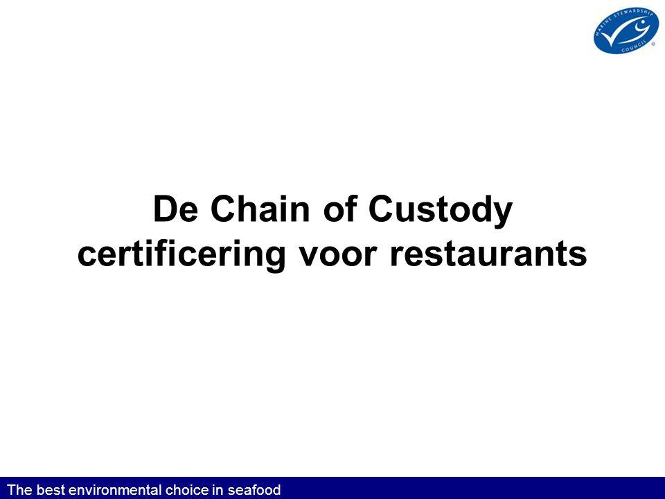 De Chain of Custody certificering voor restaurants The best environmental choice in seafood