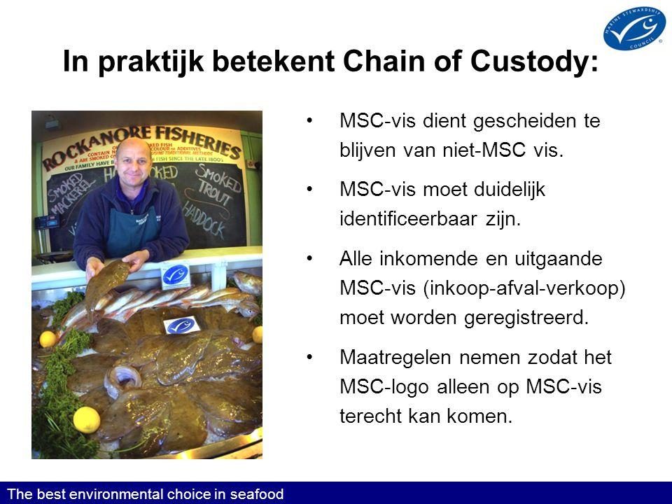 The best environmental choice in seafood In praktijk betekent Chain of Custody: •MSC-vis dient gescheiden te blijven van niet-MSC vis.