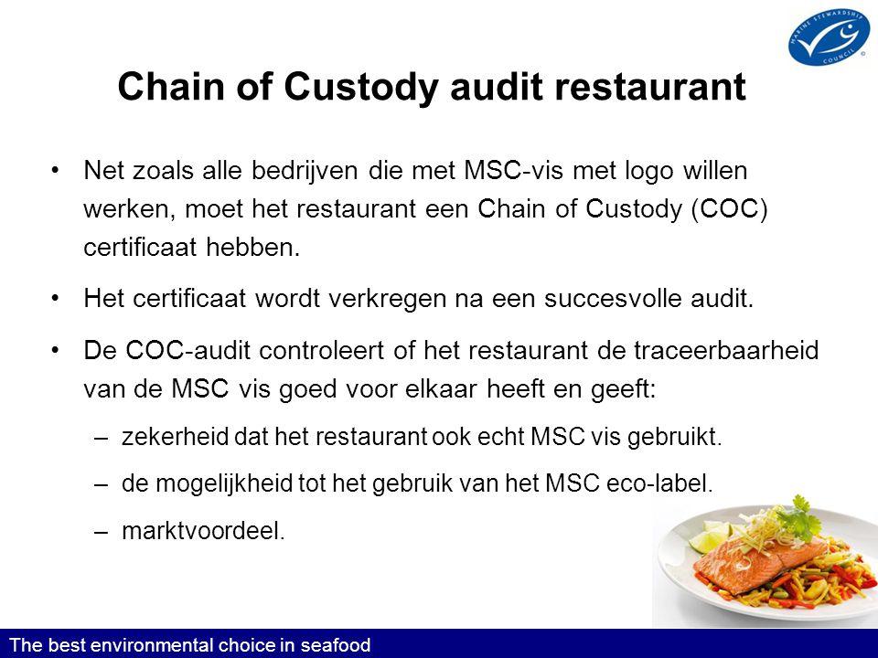 Chain of Custody audit restaurant •Net zoals alle bedrijven die met MSC-vis met logo willen werken, moet het restaurant een Chain of Custody (COC) certificaat hebben.