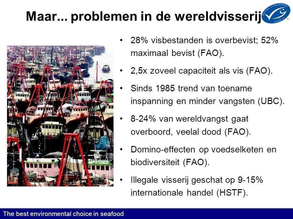 Maar...problemen in de wereldvisserij •28% visbestanden is overbevist; 52% maximaal bevist (FAO).
