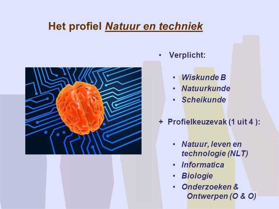 Het profiel Natuur en techniek •Verplicht: •Wiskunde B •Natuurkunde •Scheikunde + Profielkeuzevak (1 uit 4 ): •Natuur, leven en technologie (NLT) •Inf