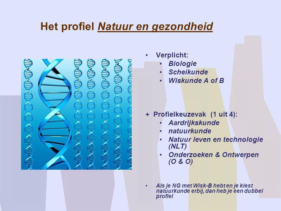 Het profiel Natuur en gezondheid •Verplicht: •Biologie •Scheikunde •Wiskunde A of B + Profielkeuzevak (1 uit 4): •Aardrijkskunde •natuurkunde •Natuur