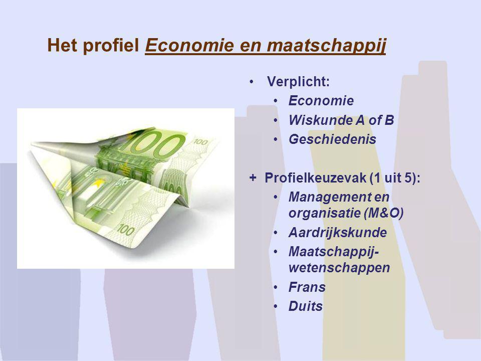 Het profiel Economie en maatschappij •Verplicht: •Economie •Wiskunde A of B •Geschiedenis + Profielkeuzevak (1 uit 5): •Management en organisatie (M&O