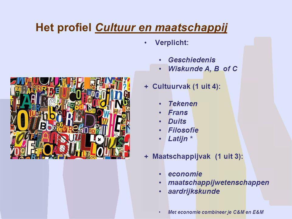 Het profiel Cultuur en maatschappij •Verplicht: •Geschiedenis •Wiskunde A, B of C + Cultuurvak (1 uit 4): •Tekenen •Frans •Duits •Filosofie •Latijn *