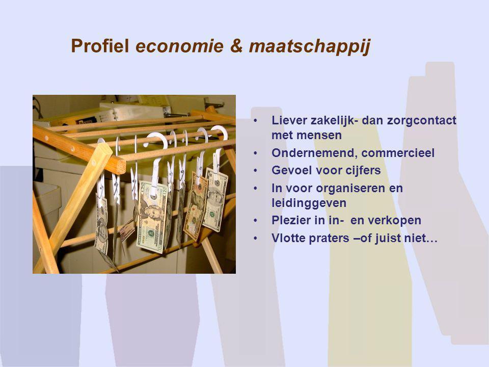 Profiel economie & maatschappij •Liever zakelijk- dan zorgcontact met mensen •Ondernemend, commercieel •Gevoel voor cijfers •In voor organiseren en le