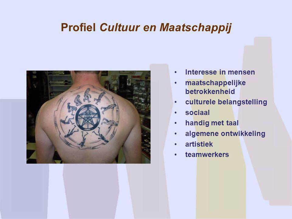 Profiel Cultuur en Maatschappij •Interesse in mensen •maatschappelijke betrokkenheid •culturele belangstelling •sociaal •handig met taal •algemene ont