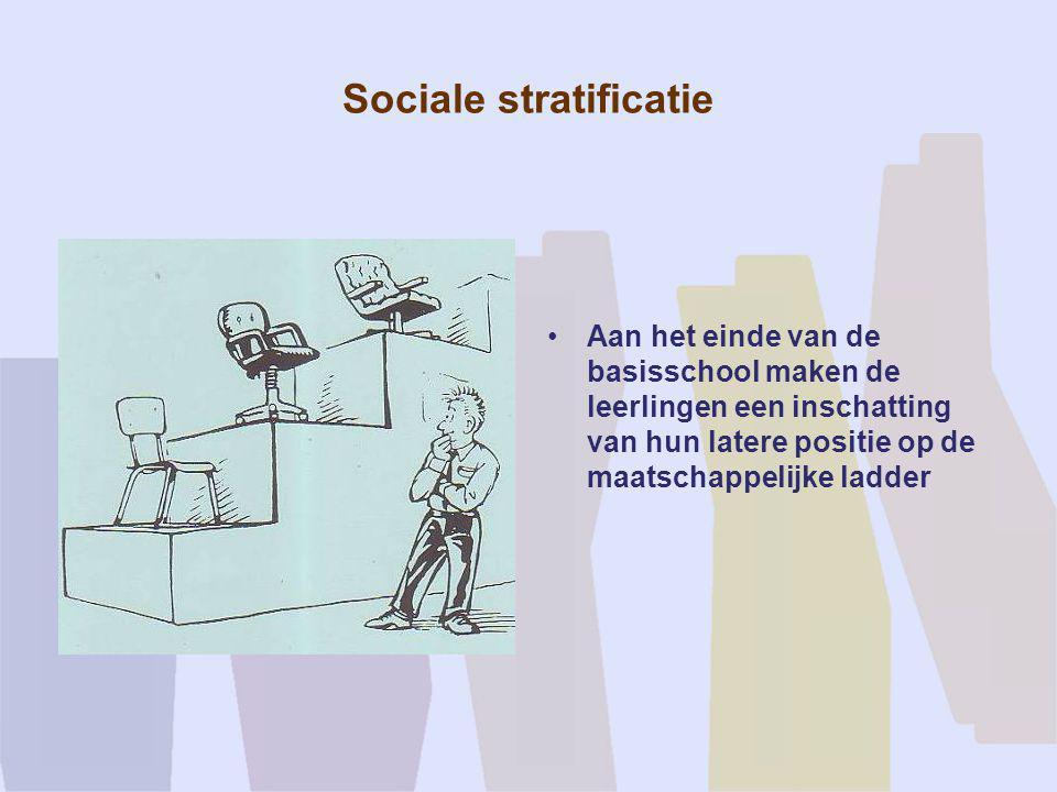 Sociale stratificatie •Aan het einde van de basisschool maken de leerlingen een inschatting van hun latere positie op de maatschappelijke ladder