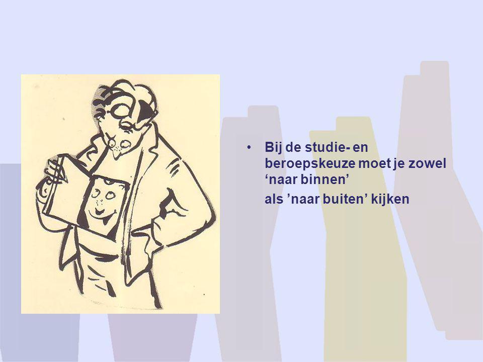 •Bij de studie- en beroepskeuze moet je zowel 'naar binnen' als 'naar buiten' kijken
