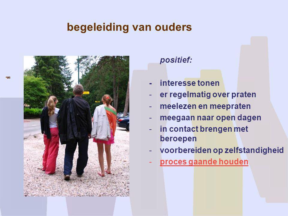 begeleiding van ouders positief: - interesse tonen -er regelmatig over praten -meelezen en meepraten -meegaan naar open dagen -in contact brengen met