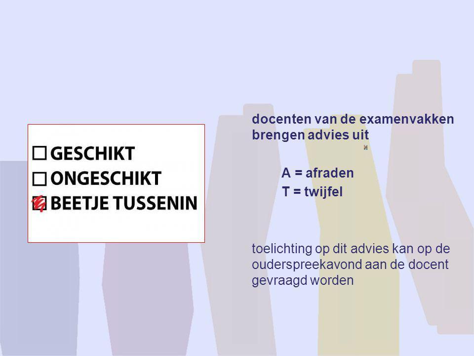 docenten van de examenvakken brengen advies uit A = afraden T = twijfel toelichting op dit advies kan op de ouderspreekavond aan de docent gevraagd wo