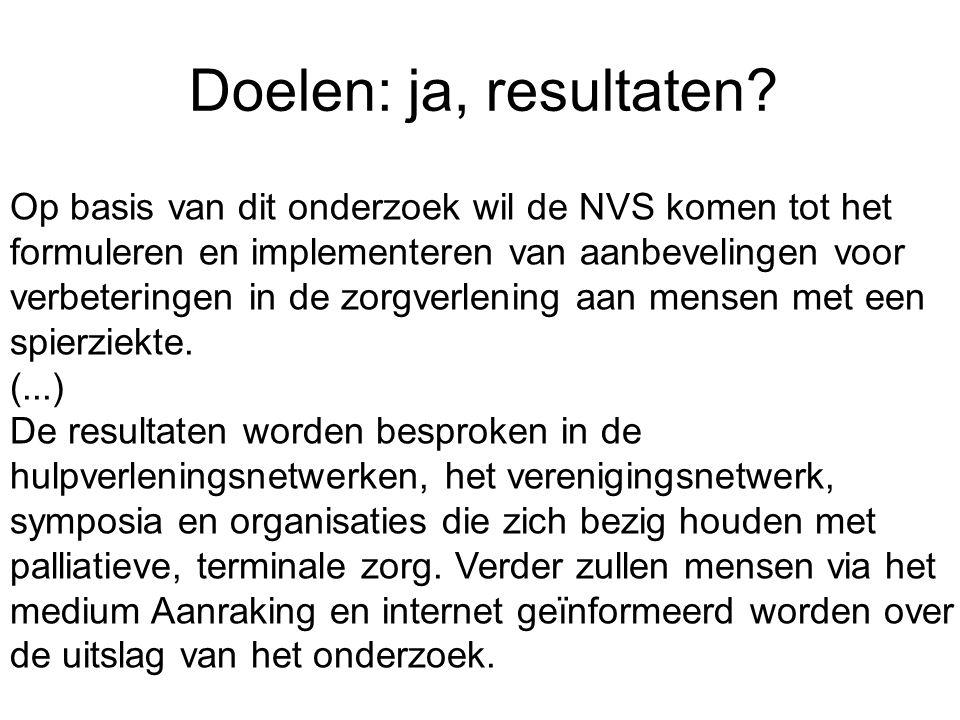 Doelen: ja, resultaten? Op basis van dit onderzoek wil de NVS komen tot het formuleren en implementeren van aanbevelingen voor verbeteringen in de zor