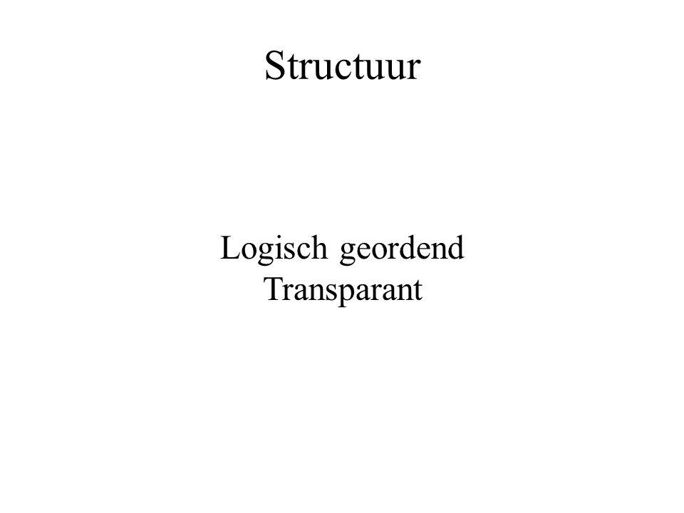 Structuur Logisch geordend Transparant