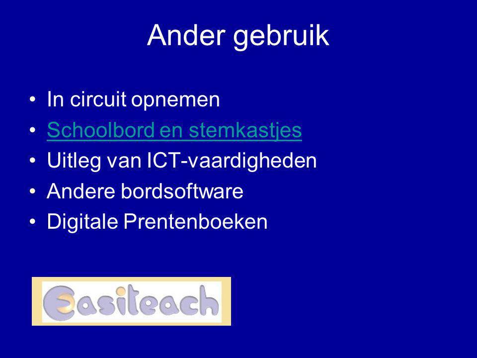 Ander gebruik •In circuit opnemen •Schoolbord en stemkastjesSchoolbord en stemkastjes •Uitleg van ICT-vaardigheden •Andere bordsoftware •Digitale Pren