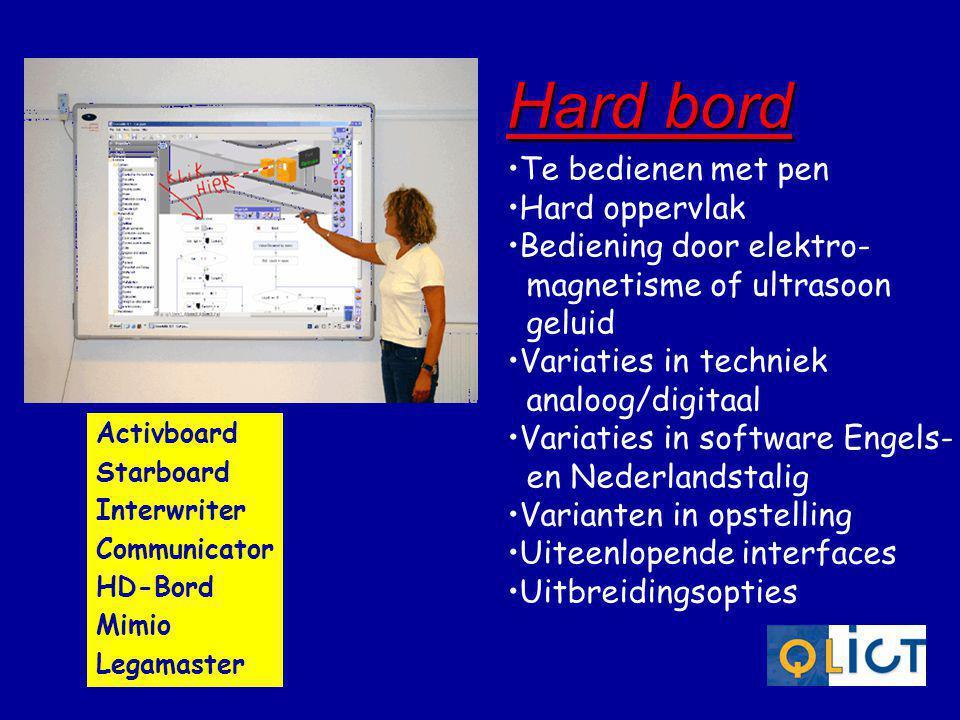 •Te bedienen met pen •Hard oppervlak •Bediening door elektro- magnetisme of ultrasoon geluid •Variaties in techniek analoog/digitaal •Variaties in sof