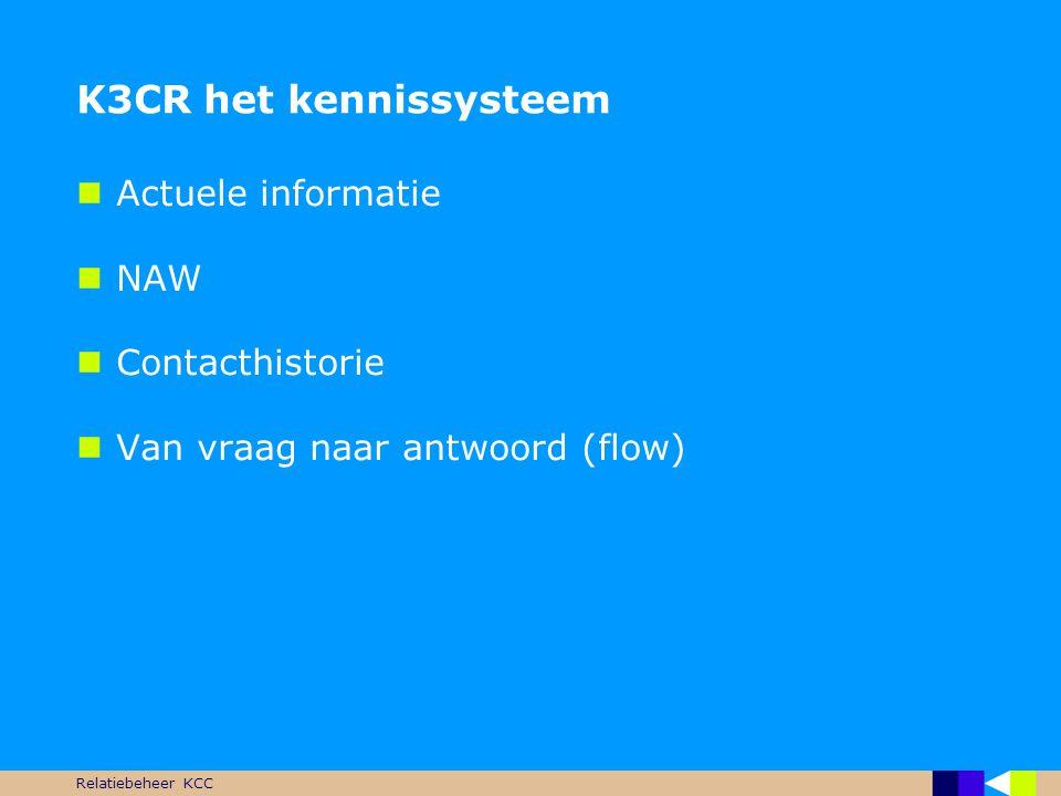 Relatiebeheer KCC K3CR het kennissysteem  Actuele informatie  NAW  Contacthistorie  Van vraag naar antwoord (flow)