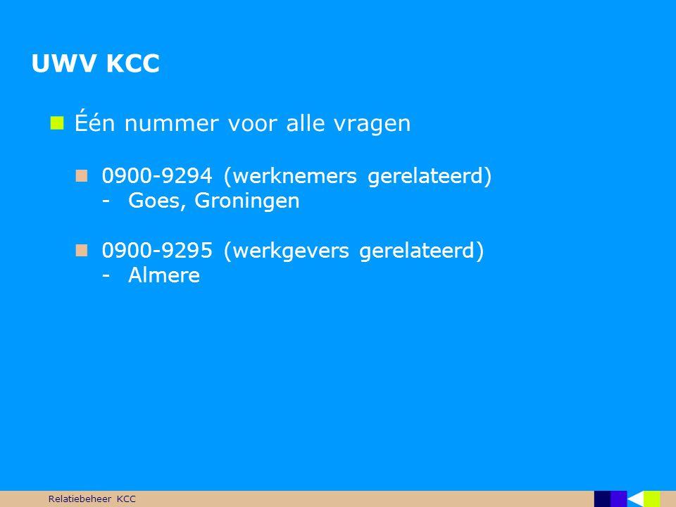 Relatiebeheer KCC UWV KCC  Één nummer voor alle vragen  0900-9294 (werknemers gerelateerd) -Goes, Groningen  0900-9295 (werkgevers gerelateerd) -Al