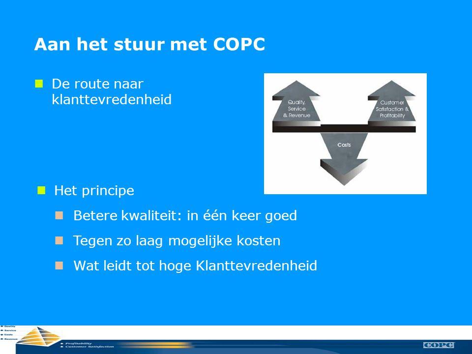 Relatiebeheer KCC Aan het stuur met COPC  De route naar klanttevredenheid  Het principe  Betere kwaliteit: in één keer goed  Tegen zo laag mogelij