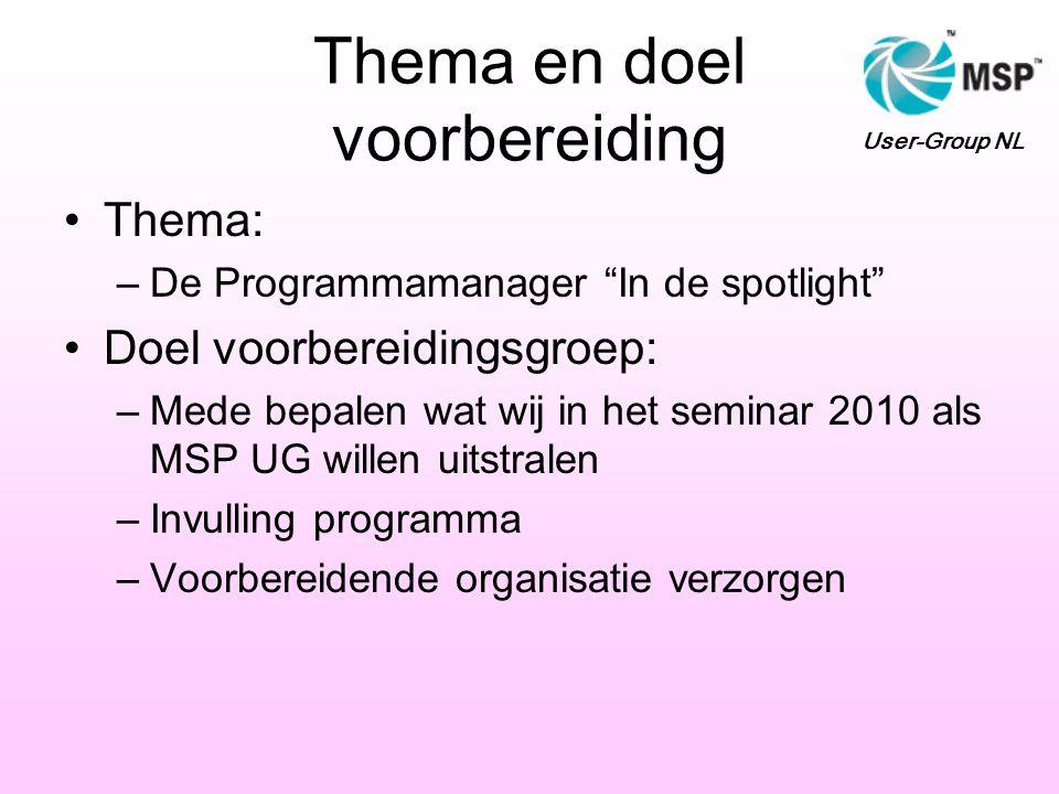 """Thema en doel voorbereiding •Thema: –De Programmamanager """"In de spotlight"""" •Doel voorbereidingsgroep: –Mede bepalen wat wij in het seminar 2010 als MS"""