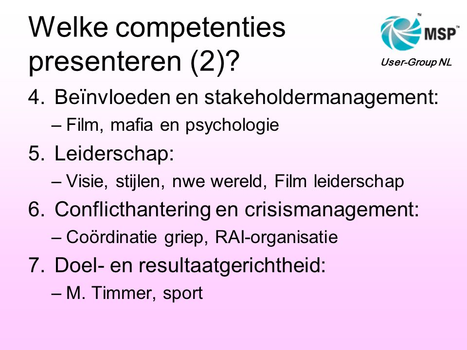Welke competenties presenteren (2).