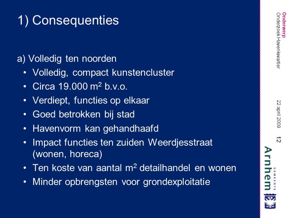 Onderwerp 12 22 april 2009 Onderzoek Havenkwartier 1) Consequenties a) Volledig ten noorden •Volledig, compact kunstencluster •Circa 19.000 m 2 b.v.o.