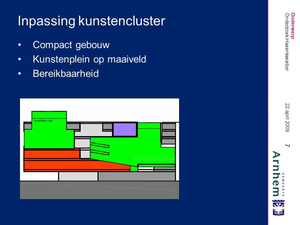 Onderwerp 7 22 april 2009 Onderzoek Havenkwartier Inpassing kunstencluster •Compact gebouw •Kunstenplein op maaiveld •Bereikbaarheid