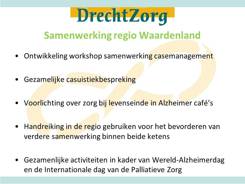 Samenwerking regio Waardenland •Ontwikkeling workshop samenwerking casemanagement •Gezamelijke casuistiekbespreking •Voorlichting over zorg bij levens