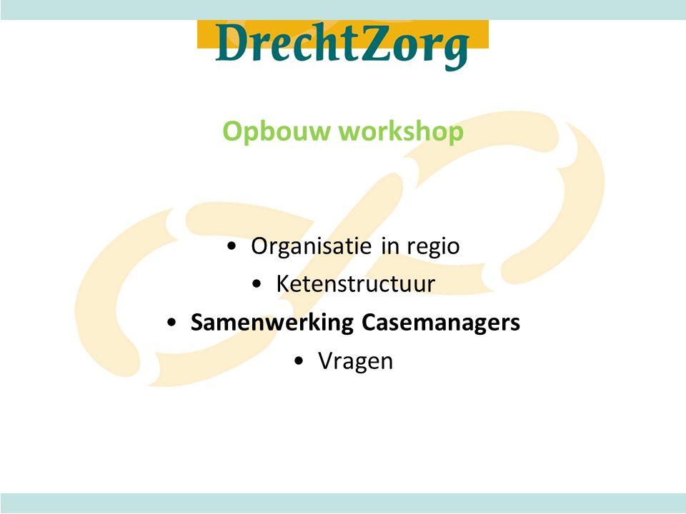 Stichting Drechtzorg •In 2000 opgericht samenwerkingsverband van zorgaanbieders in regio Dordrecht en Gorinchem •Doelstelling: Drechtzorg stimuleert en ondersteunt initiatieven, activiteiten en projecten gericht op samenhang, afstemming en continuïteit van de zorg •Bestuur Drechtzorg en deelnemersraad •Manager Drechtzorg •Werkstructuur Ketens