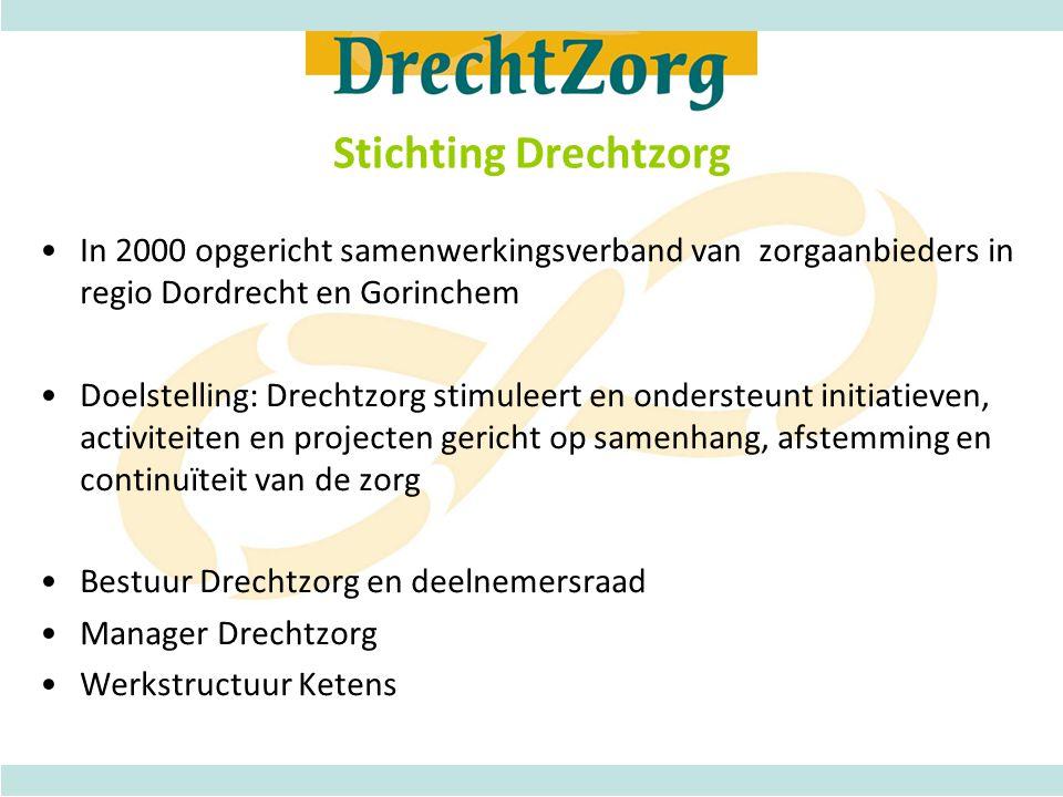 Stichting Drechtzorg •In 2000 opgericht samenwerkingsverband van zorgaanbieders in regio Dordrecht en Gorinchem •Doelstelling: Drechtzorg stimuleert e