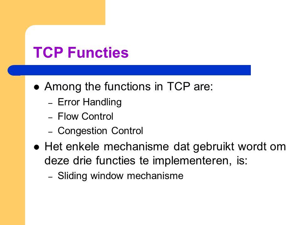 TCP Functies  Among the functions in TCP are: – Error Handling – Flow Control – Congestion Control  Het enkele mechanisme dat gebruikt wordt om deze