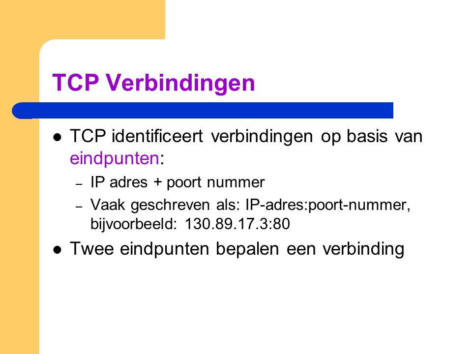 TCP Verbindingen  TCP identificeert verbindingen op basis van eindpunten: – IP adres + poort nummer – Vaak geschreven als: IP-adres:poort-nummer, bij