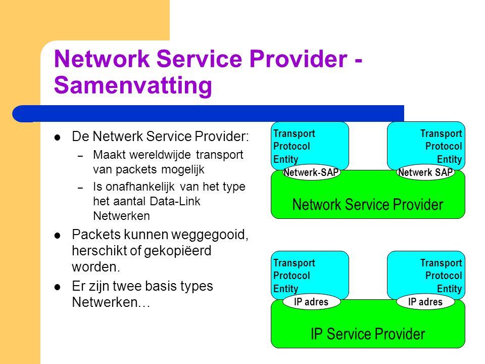 Network Service Provider - Samenvatting  De Netwerk Service Provider: – Maakt wereldwijde transport van packets mogelijk – Is onafhankelijk van het t