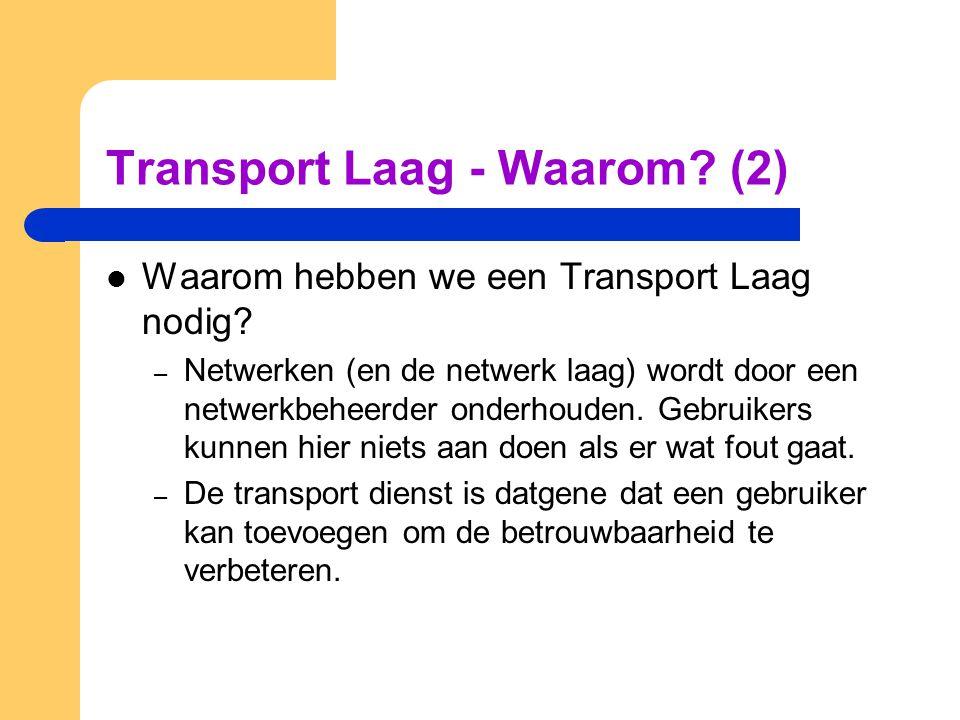 Transport Laag - Waarom? (2)  Waarom hebben we een Transport Laag nodig? – Netwerken (en de netwerk laag) wordt door een netwerkbeheerder onderhouden