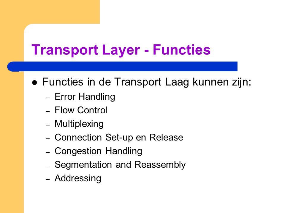 Transport Layer - Functies  Functies in de Transport Laag kunnen zijn: – Error Handling – Flow Control – Multiplexing – Connection Set-up en Release