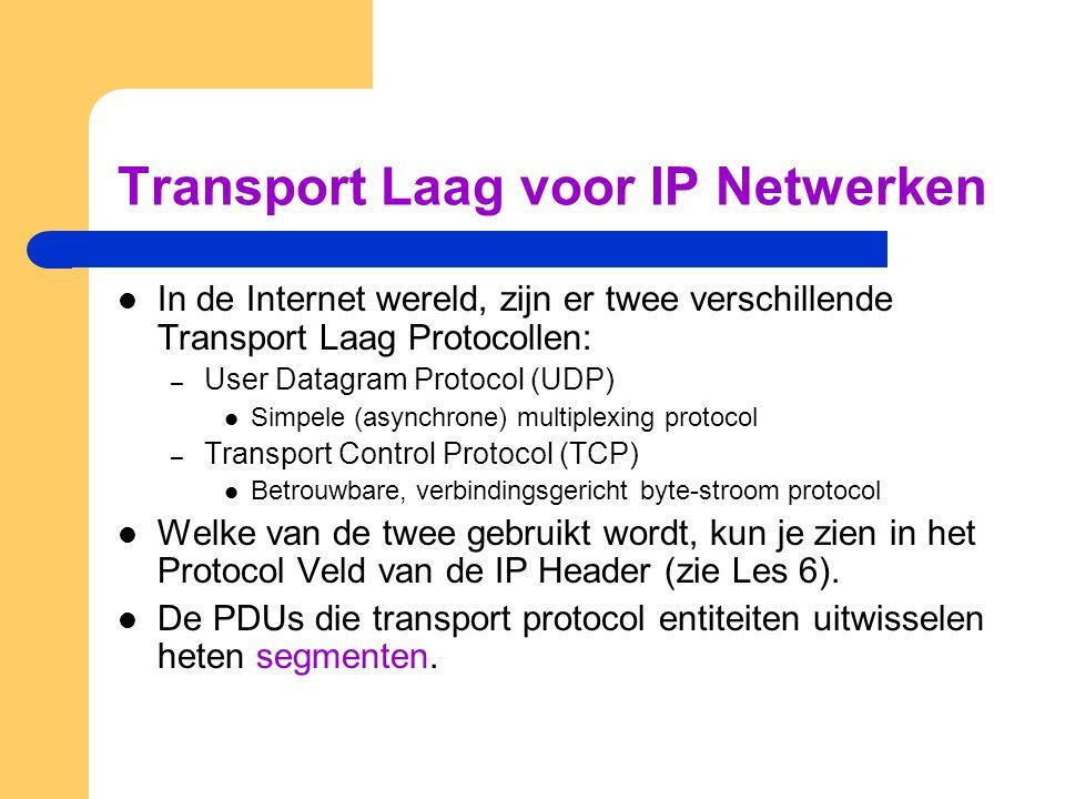 Transport Laag voor IP Netwerken  In de Internet wereld, zijn er twee verschillende Transport Laag Protocollen: – User Datagram Protocol (UDP)  Simp