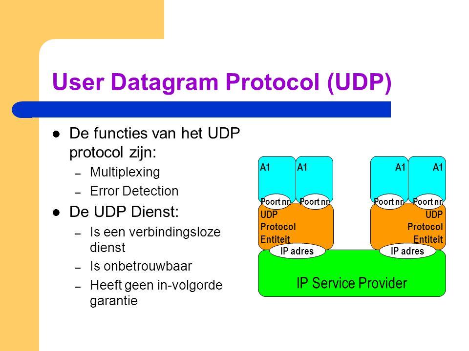 User Datagram Protocol (UDP)  De functies van het UDP protocol zijn: – Multiplexing – Error Detection  De UDP Dienst: – Is een verbindingsloze diens