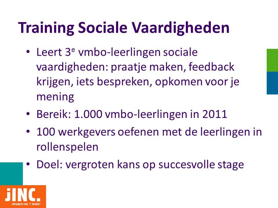 Training Sociale Vaardigheden • Leert 3 e vmbo-leerlingen sociale vaardigheden: praatje maken, feedback krijgen, iets bespreken, opkomen voor je menin