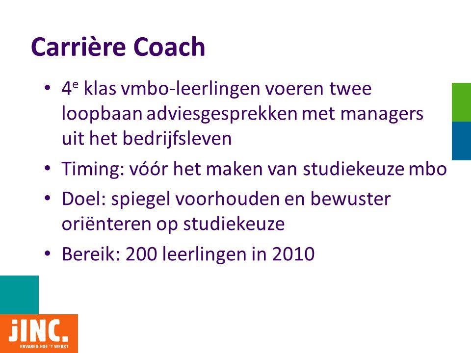 Carrière Coach • 4 e klas vmbo-leerlingen voeren twee loopbaan adviesgesprekken met managers uit het bedrijfsleven • Timing: vóór het maken van studie
