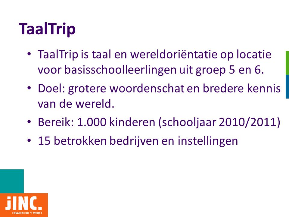 TaalTrip • TaalTrip is taal en wereldoriëntatie op locatie voor basisschoolleerlingen uit groep 5 en 6. • Doel: grotere woordenschat en bredere kennis