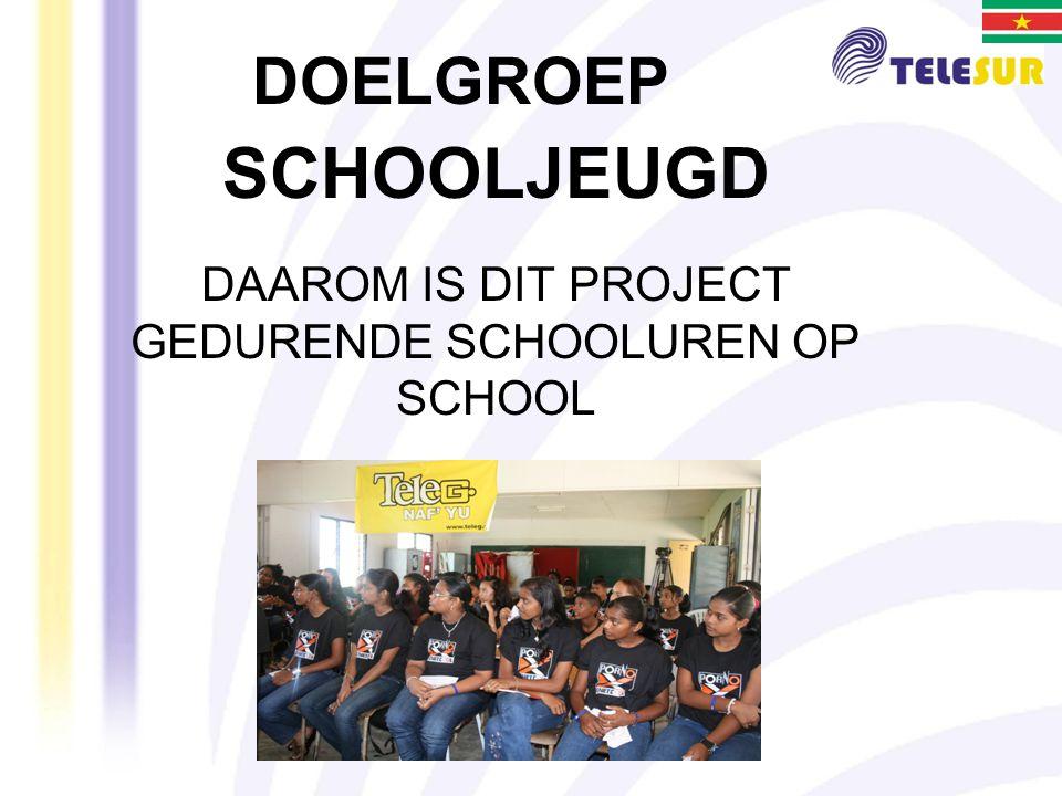 DOELGROEP SCHOOLJEUGD DAAROM IS DIT PROJECT GEDURENDE SCHOOLUREN OP SCHOOL