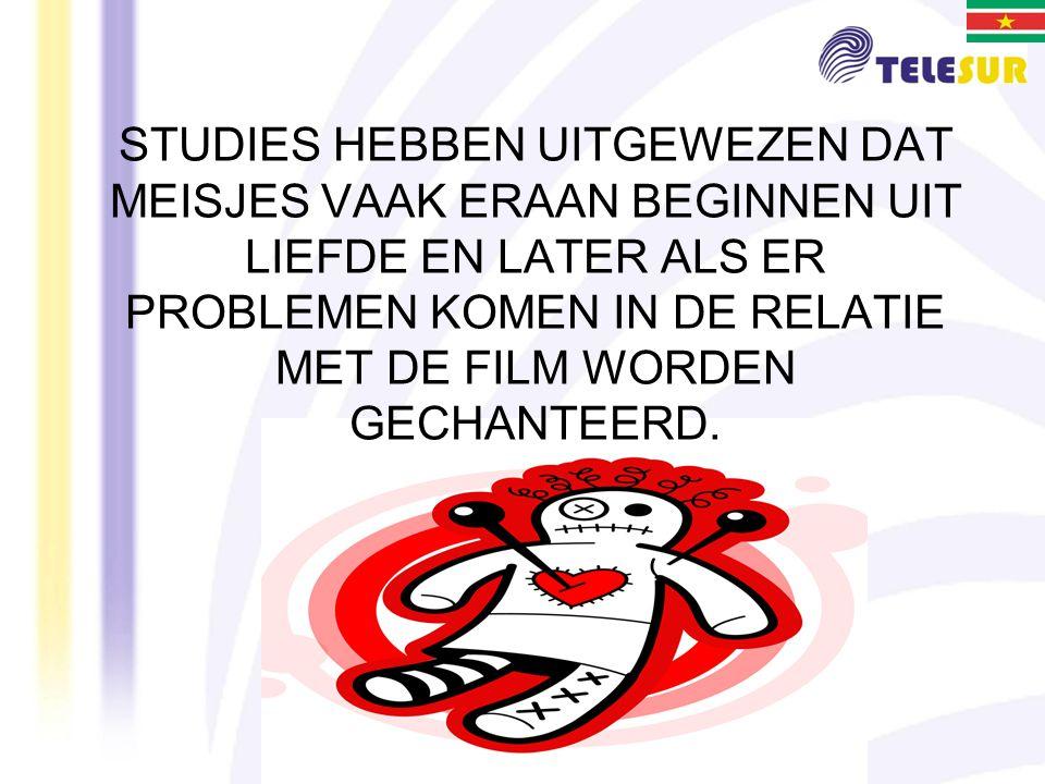 STUDIES HEBBEN UITGEWEZEN DAT MEISJES VAAK ERAAN BEGINNEN UIT LIEFDE EN LATER ALS ER PROBLEMEN KOMEN IN DE RELATIE MET DE FILM WORDEN GECHANTEERD.