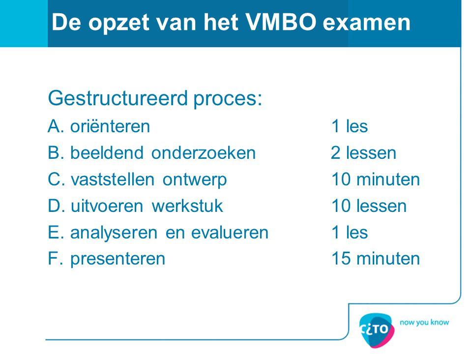 De opzet van het VMBO examen Gestructureerd proces: A. oriënteren 1 les B. beeldend onderzoeken2 lessen C. vaststellen ontwerp10 minuten D. uitvoeren
