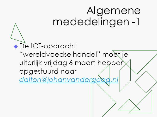 """Algemene mededelingen -1  De ICT-opdracht """"wereldvoedselhandel"""" moet je uiterlijk vrijdag 6 maart hebben opgestuurd naar dalton@johanvandergaag.nl da"""