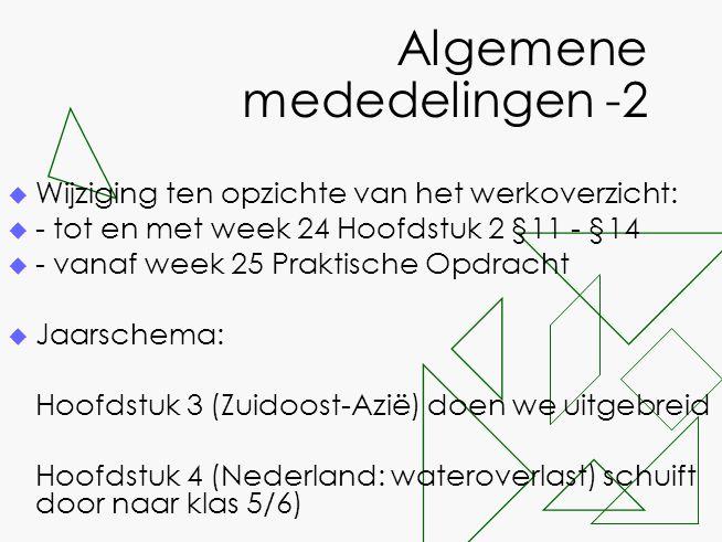 Algemene mededelingen -2  Wijziging ten opzichte van het werkoverzicht:  - tot en met week 24 Hoofdstuk 2 §11 - §14  - vanaf week 25 Praktische Opd