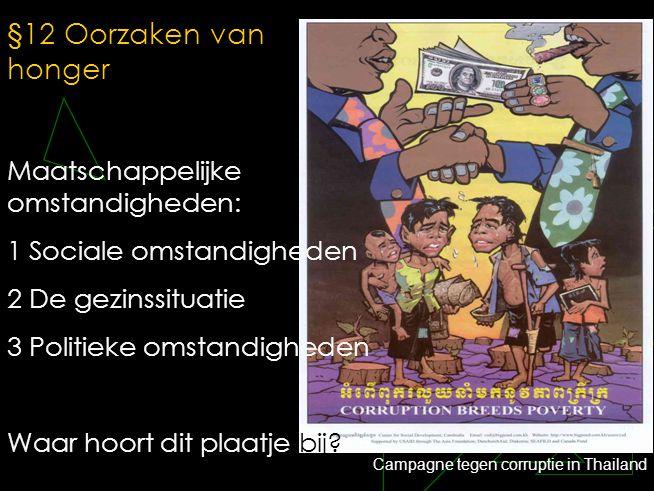 §12 Oorzaken van honger Maatschappelijke omstandigheden: 1 Sociale omstandigheden 2 De gezinssituatie 3 Politieke omstandigheden Waar hoort dit plaatj